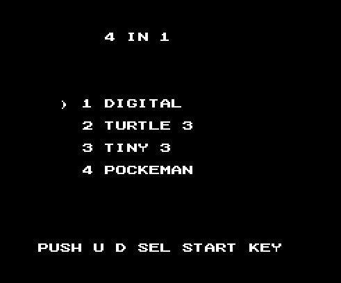 4 в 1: Digimon, Черепашки ниндзя 3 (9 жизней), Tinny Toon 3, PKA CHU - Пикачу