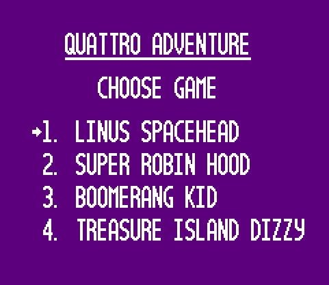 Сборник-многоигровка 4 в 1: Linus Spacehead, Super Robin Hood 3, Boomerang Kid, Treasure Island Dizzy